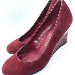 Franco Sarto Shoe Wedge Size 6M Womens Burgundy